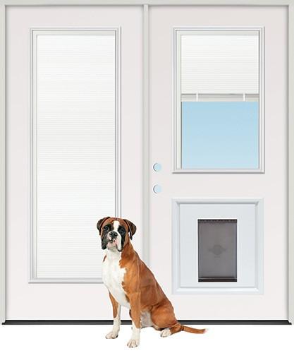 """6'0"""" Miniblind Full/Half Lite Fiberglass Patio Prehung Double Door Unit with Pet Door Insert"""