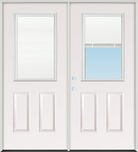 "6'0"" Miniblind Half Lite Fiberglass Patio Prehung Double Door Unit"