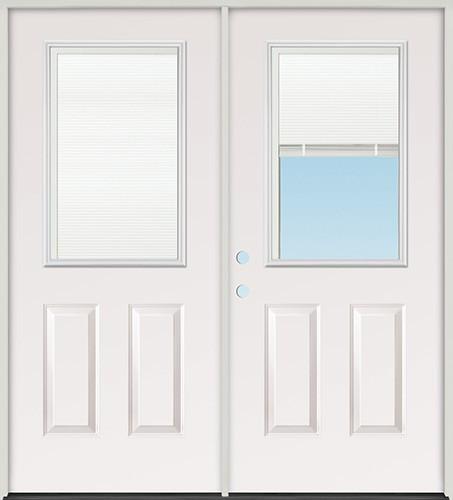 """6'0"""" Miniblind Half Lite Steel Patio Prehung Double Door Unit"""