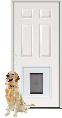 "2'8"" 6-Panel Fiberglass Prehung Door Unit with Pet Door Insert"