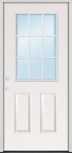 "3'0"" 9-Lite Fiberglass Prehung Door Unit"