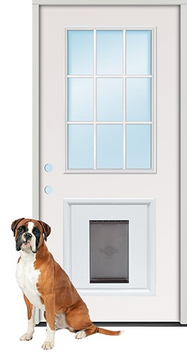 "3'0"" 9-Lite Steel Prehung Door Unit with Pet Door Insert"