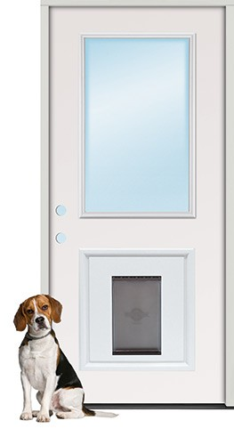 "2'8"" Half Lite Fiberglass Prehung Door Unit with Pet Door Insert"