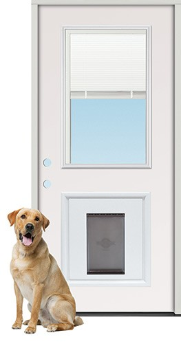 "3'0"" Miniblind Half Lite Steel Prehung Door Unit with Pet Door Insert"