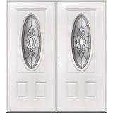 3/4 Oval Steel Prehung Double Door Unit #64
