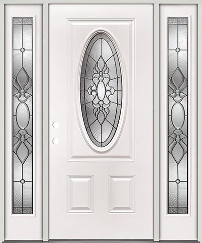 3/4 Oval Steel Prehung Door Unit with Sidelites #64