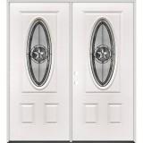 3/4 Oval Texas Star Steel Prehung Double Door Unit #60