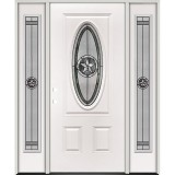 3/4 Oval Texas Star Steel Prehung Door Unit with Sidelites #60