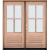 4-Lite Low-E Mahogany Prehung Wood Double Door Unit