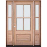 4-Lite Low-E Mahogany Prehung Wood Door Unit with Sidelites