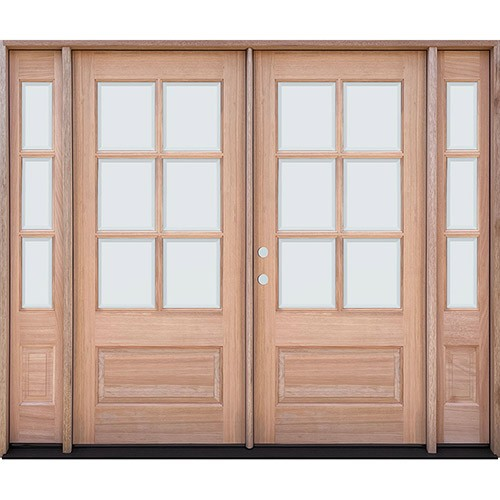 6-Lite Low-E Mahogany Prehung Wood Double Door Unit with Sidelites
