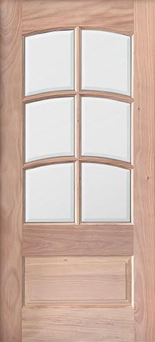 6-Lite Arch Low-E TDL Mahogany Wood Door Slab #5215