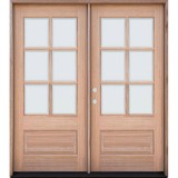 6-Lite Low-E Mahogany Prehung Wood Double Door Unit