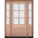 6-Lite Low-E Mahogany Prehung Wood Door Unit with Sidelites