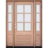 6-Lite Low-E Mahogany Prehung Wood Door Unit with Sidelites