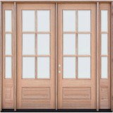 "8'0"" Tall 6-Lite Low-E Mahogany Prehung Wood Double Door Unit with Sidelites"