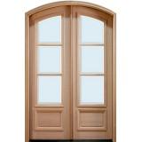 """8'0"""" Tall Preston 3-Lite Low-E Mahogany Arch Top Prehung Double Wood Door Unit"""