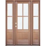 4-Lite Mahogany Prehung Wood Door Unit with Sidelites
