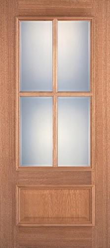 4-Lite 1-Panel Mahogany Wood Door Slab