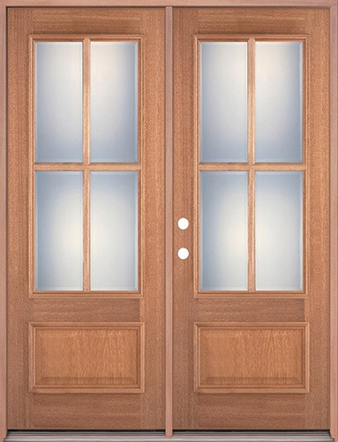4-Lite 1-Panel Mahogany Prehung Wood Double Door Unit