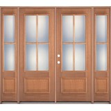 4-Lite 1-Panel Mahogany Prehung Wood Double Door Unit with Sidelites