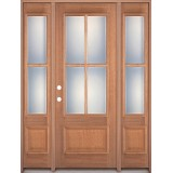 4-Lite 1-Panel Mahogany Prehung Wood Door Unit with Sidelites