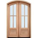 """8'0"""" Tall Preston 4-Lite Low-E Mahogany Arch Top Prehung Double Wood Door Unit"""