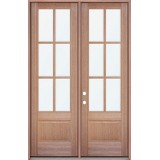"8'0"" Tall 6-Lite Mahogany Prehung Wood Double Door Patio Unit"