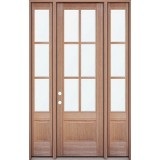 """8'0"""" Tall 6-Lite Mahogany Prehung Wood Door Unit with Sidelites"""