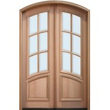 "8'0"" Tall Preston 6-Lite Curved Low-E Mahogany Arch Top Prehung Double Wood Door Unit"