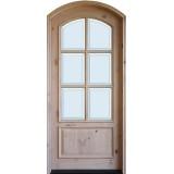 "8'0"" Tall Preston 6-Lite Low-E Knotty Alder Arched Prehung Wood Door Unit"