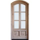 "8'0"" Tall Preston 6-Lite 2-Panel Low-E Knotty Alder Arched Prehung Wood Door Unit"