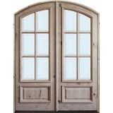 "8'0"" Tall Preston 6-Lite Low-E Knotty Alder Arch Top Prehung Double Wood Door Unit"