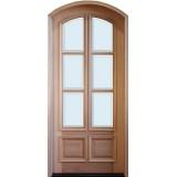 """8'0"""" Tall Preston 6-Lite 2-Panel Low-E Mahogany Arched Prehung Wood Door Unit"""