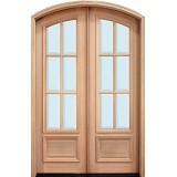 """8'0"""" Tall Preston 6-Lite Low-E Mahogany Arch Top Prehung Double Wood Door Unit"""