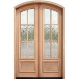 """8'0"""" Tall Preston 6-Lite Flemish Mahogany Arch Top Prehung Double Wood Door Unit"""