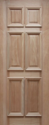 "32"" Wide 6 Panel Mahogany Wood Door Slab #UM11"