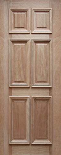 "32"" Wide 6 Panel Mahogany Wood Door Slab #UM11"