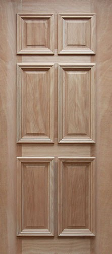 6 Panel Mahogany Wood Door Slab #UM11