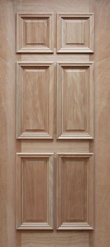 6 Panel Mahogany Wood Door Slab #UM11
