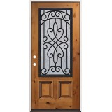 3/4 Iron Grille Pre-stained Knotty Alder Prehung Wood Door Unit #62