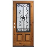 3/4 Iron Grille Pre-stained Knotty Alder Prehung Wood Door Unit #75