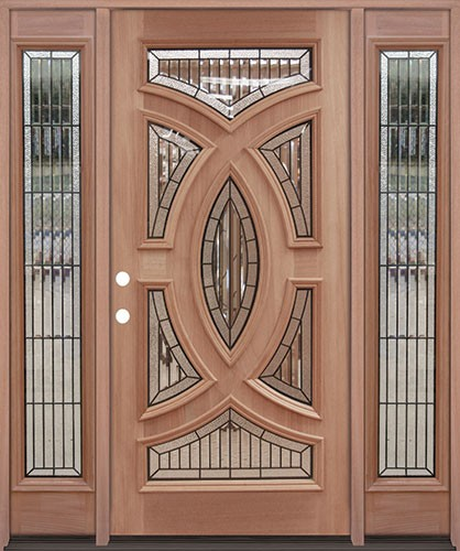 Baseball Mahogany Prehung Wood Door Unit With Sidelite #A8025 22