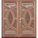 Baseball Mahogany Prehung Double Wood Door Unit #A8025-22