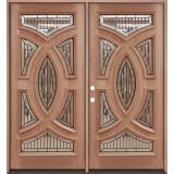 Baseball Mahogany Prehung Double Wood Door Unit #A8025-22
