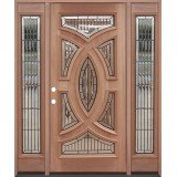Baseball Mahogany Prehung Wood Door Unit with Sidelite #A8025-22