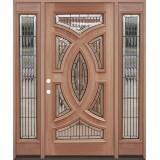 Baseball Mahogany Prehung Wood Door Unit with Sidelite #A8025-22