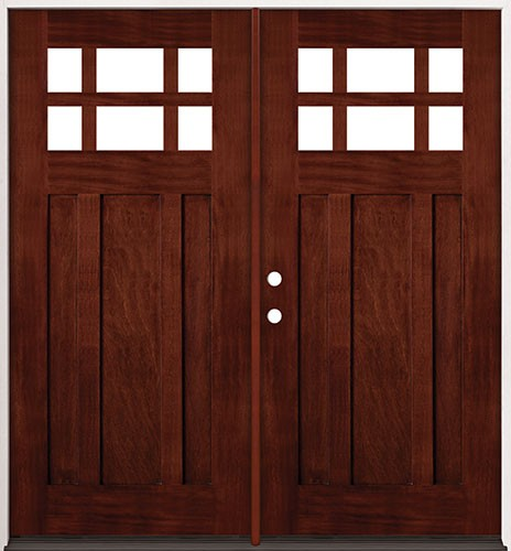 6-Lite Craftsman Mahogany Prehung Double Wood Door Unit #43