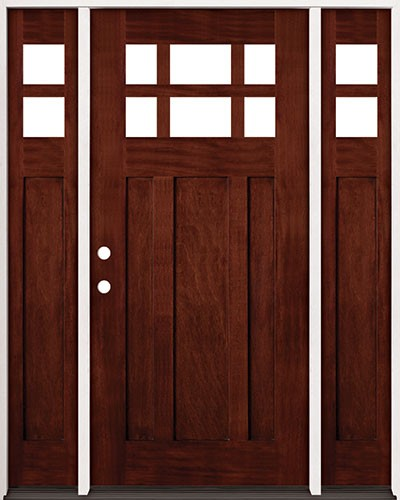 Cheap 6 Lite Craftsman Mahogany Prehung Wood Door Unit With