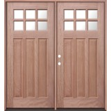 6-Lite Craftsman Mahogany Prehung Double Wood Door Unit #UM43